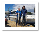 June 26, 2018 : 16, 15, 10 lbs.Chinook Salmon - Sooke BC - Loretta from Australia with Isaac from Sooke BC