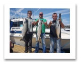 June 27, 2018 : 13, 12, 12 lbs. Chinook Salmon and the other hands are holding up the ones we had to throw back- Day 1 of 3 - Sooke BC - Zach, Sheldon, & Peter from Edmonton Alberta.