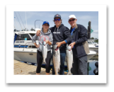 July 8, 2018 : 15, 12, 8 lbs. Chinook Salmon - Sooke BC - Jenna, Ben, & Gord from Calgary and Victoria BC