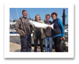July 28, 2018 : 19 lbs. Chinook Salmon - Sooke BC - Kelly, Joshua, & Lauren Gilmour from Victoria with Connie Hansen from Courtenay BC