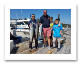 August 18, 2018 : 19 & 14 lbs chinook salmon & sockeye salmon - Sooke BC - Lain, Max, & Theo from Cardiff Wales with Colin from Vancouver BC