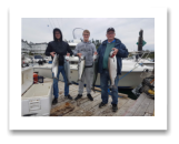 August 25, 2018 : 18, 15, 12, 11 lbs chinook salmon & hatchery coho salmon - Sooke BC - Dale, Travis, & Ben from Manitoba