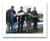 April 19, 2014: 12 & 10 lbs. Chinook Salmon - Constance Bank  - Jaimie, Anthony, Jim, & Ken from Florida, California, New Hazelton, and Calgary