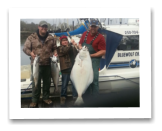 April 20, 2014: 62lbs. Halibut, 14 & 9 lbs. Chinook Salmon - Constance Bank  Grayson and Travis from Wainright Alberta