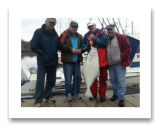 April 8, 2014: 34 lbs. Halibut - Constance Bank  - Uncle Joe with friends Gord, Bernard, and Roger from Parksville BC