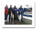 April 5, 2014: 2 Halibut & 11 lbs. Chinook Salmon - Constance Bank  - Joan, Jerry, Alex, and John from BC