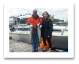 June 16, 2014: 13 & 12 lbs. Chinook Salmon - Sheringham  Point -  Steve & Katie from Denver Colorado