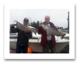 June 28, 2014 : 16 & 12 lbs. Chinook Salmon - Sheringham  Point - Nico and Cisca from Victoria BC with George from Calgary Alberta