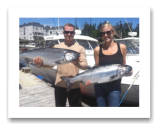 July 1, 2014 : 24 & 23 lbs. Chinook Salmon - Beachy Head - Erik & Alex from California with Patty & Tom from Washington