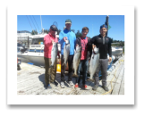 July 16, 2014 : 24, 13, 9 lbs. Chinook Salmon & 2 Hatchery Coho - Race Rocks - Patrick & Mike from Edinburgh Scotland with Lawrence from Campbell River and Bryan from Victoria