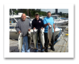 July 25, 2014 : 19, 18, 18, 17, 15 lbs. Chinook Salmon - Otter Point - Morning Trip - Ron from Colorado with Paul from Victoria