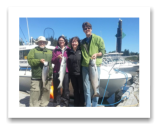 July 28, 2014 : 13, 11, 9 lbs. Chinook - Muir Creek - James, Matt, & Deb from Ottawa with Hilary from Victoria BC