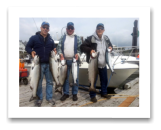 August 14, 2014 : 21, 18, 15, 13 lbs. Chinook & 2 Sockeye Salmon - Otter Point - Day 3 of 3 - Dick, Scott, & Chuck from Washington. This is the 4th year in a row going out with Roy on the Blue Wolf.