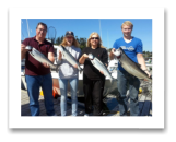 August 26, 2014 : 18 lbs. Chinook Salmon, 2 Sockeye, 1 Hatchery Coho - Otter Point - Day 1 of 2 - Kalene, Dave, Mathew, & Kelly from Calgary Alberta