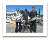 September 14, 2014 : 27 & 15 lbs. Chinook Salmon  - Muir Creek - Rob & Christine and Cousin Rob from Victoria and Halifax. 15 years in a row fishing with Blue Wolf Charters.