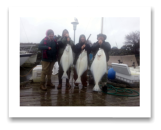 March 15, 2015 : 55, 34, 30 lbs. Halibut - Constance Bank - Ross, Lisa, Jorden, & Krysten from Vancouver BC