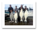 March 16, 2015 : 48, 42, 40, 38 lbs. Halibut - Constance Bank - Paul, Lorin, Steve, & Don from Nanaimo BC