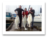 March 17, 2015 : 57, 41, 39 lbs. Halibut - Constance Bank - Jim, Cathy, & Micah from Nelson BC