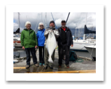 April 24, 2015 : 29 lbs. Halibut - Clover Point - Tom, Judy, & Bill from Slocan Park BC