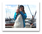 April 27, 2015 : 28 lbs. Halibut - Clover Point - Josée with her first ever Halibut.