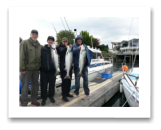 May 16, 2015 : 13, 11, 11 lbs. Chinook Salmon - Muir Creek - Derrick, Tyler, Dave, & Michael from Ontario North.
