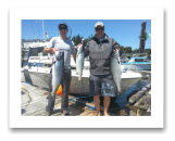 June 11, 2015 : 21, 13, 9 lbs. Chinook Salmon - Sheringham Point - Devin & Alex from Ontario