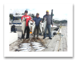July 12, 2015 : 26.5, 19, 16.5, 16, 11 lbs. Chinook Salmon & Limit of Pink Salmon - Muir Creek - Lash, Chuck, and Brad from Vancouver & Sooke BC