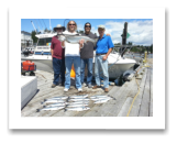 July 27, 2015 : 21 lbs. Chinook Salmon & Limit of Pink Salmon - Muir Creek - John from Hawaii, Paul & Jason from Los Angeles, with Dave from Victoria BC