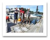 July 28, 2015 : 12, 10, 10 lbs. Chinook Salmon & Limit of Coho & Pink Salmon - Muir Creek - Crissy from Victoria with Phil & Rene from Vancouver BC