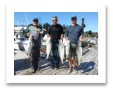 August 18, 2015 : 19, 16, 15, 15 lbs. Chinook Salmon & Limit of Pink and Hatchery Coho - Otter Point - Day 2 of 2 - Steve from Surrey BC with Dan & Trevor from Swift Current Saskatchewan