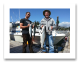 August 21, 2015 : 18 lbs. Chinook Salmon & Epic Battle with a California Sea Lion where the Sea Lion got everything but the fish head - Day 2 of 2 - Otter Point - William & Peter from Alberta