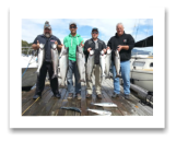 August 24, 2015 : 17 to 10 lbs. Chinook Salmon, Coho & Pink Salmon - Day 2 of 3 - Otter Point - Big Al, Dave, & Cory from Calgary Alberta with Joey from Kelowna BC