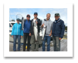 "September 7, 2015 : 13 lbs. Chinook Salmon & Hatchery Coho - Muir Creek - Eric, Hilary, Cam, Jeff & ""Banana Bob"" from Toronto and Victoria BC"