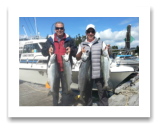 "September 9, 2015 : 22, 13, 12, 11 lbs. Chinook Salmon - Muir Creek - Mike from Calgary Alberta with Roger ""Little Spring"" from Victoria BC"