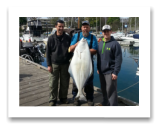 April 12, 2016 : 53 lbs. Halibut - Race Rocks - Buddies day with Paul from Trotac Marine with friend Rob and myself from Victoria BC