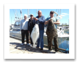 May 2, 2016 : 36 & 35 lbs. Halibut - Race Rocks - Peter from Sidney BC, Tony & Brian from Brentwood Bay BC, and Ross from Edmonton Alberta