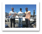 July 15, 2016 : 18 lbs. Chinook Salmon and Pink Salmon - Otter Point - Sam Van Aswegen from Netherlands, Dan Van Aswegen from Vancouver with Robbie Donaldson from Campbell River BC