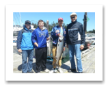 July 21, 2016 : 19 & 8 lbs. Chinook Salmon - Sheringham Point - Alan from Winnipeg, Trevor & Mark from Oklahoma, with Simon from Victoria BC