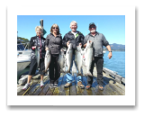 July 24, 2016 : 22, 16, 16, 14, 12, 8 lbs. Chinook Salmon - Otter Point - Day 2 of 2 - Cheryl & Pete from Saskatchewan with Lorna & Randy from Alberta