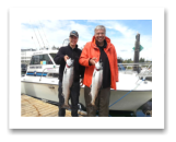 August 7, 2016 : 16 & 12 lbs. Chinook Salmon - Otter Point - Day 1 of 2 - 9th year in a row fishing with BlueWolf - John & Joel from Edmonton Alberta
