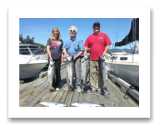 August 18, 2016 : 22, 17, 16, 15 lbs. Chinook Salmon & Hatchery Coho - Otter Point - Day 1 of 2 - Morris from Washington with Mark & Theresa from Dallas Texas
