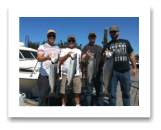 August 24, 2016 : 16 & 9 lbs. Chinook Salmon & 2 Hatchery Coho 11 and 10 lbs - Otter Point - Day 2 of 2 - Rene from Invermere, Colin from Fairmont, Kevin from Calgary, with Jamie from The Moon