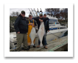 March 22, 2017 : 45 & 20 lbs. Halibut  - Albert Head - Day 2 of 2 - James, Chris, Ben, & Rob from Vancouver BC