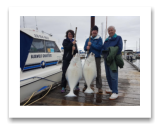 May 17, 2017 : 50 & 42 lbs. Halibut  - Day 1 of 2 - Albert Head - Karen, Pierre, & Elmer from Edmonton Alberta