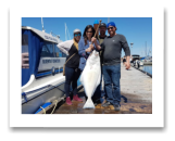 May 20, 2017 : 45 lbs. Halibut  - Albert Head - Marney from Dawson Creek, Kam from Surry, with Devin & Kristin from Victoria BC