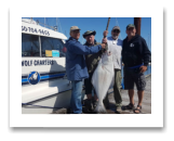 May 29, 2017 : 46 lbs. Halibut  - Albert Head - Robert from Surry, Rick from Duncan, Kevin from Lantzville, with Jim from Calgary