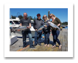 August 25, 2017 : 18, 11 lbs. Chinook Salmon & Pink Salmon - Sheringham - Scott, Kate, Dan, & Stacy from Victoria BC